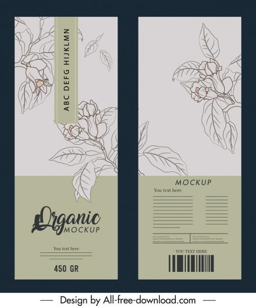 product package template elegant handdrawn botanical decor