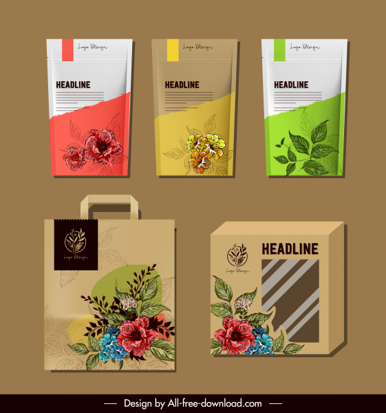 product package templates elegant handdrawn botanical decor