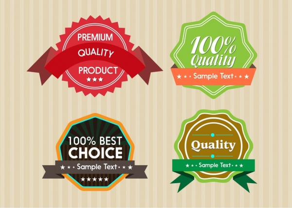product warranty label sets colored circle design