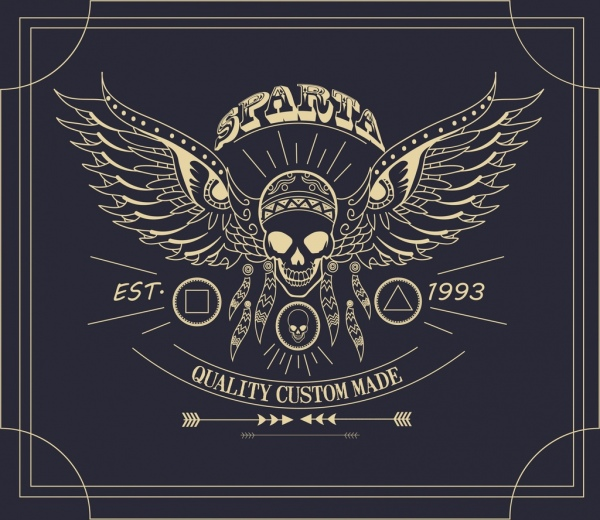 products advertisement wings skull icon dark retro design