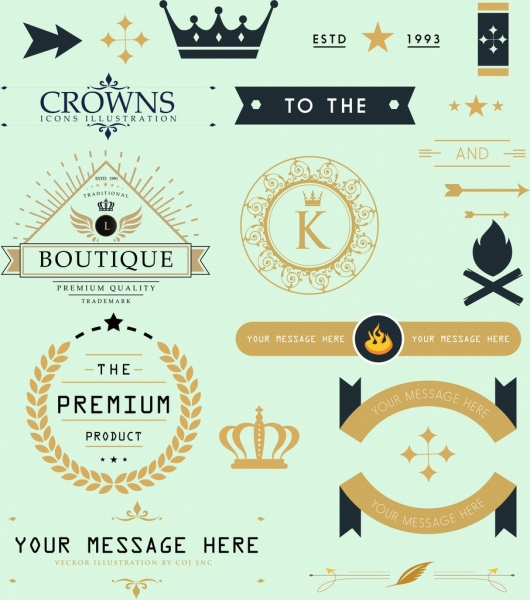 products labels design elements classical flat shapes