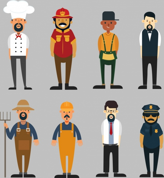 profession icons collection male cartoon characters