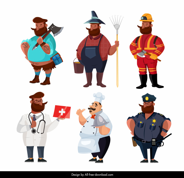 profession icons man sketch colored cartoon characters sketch