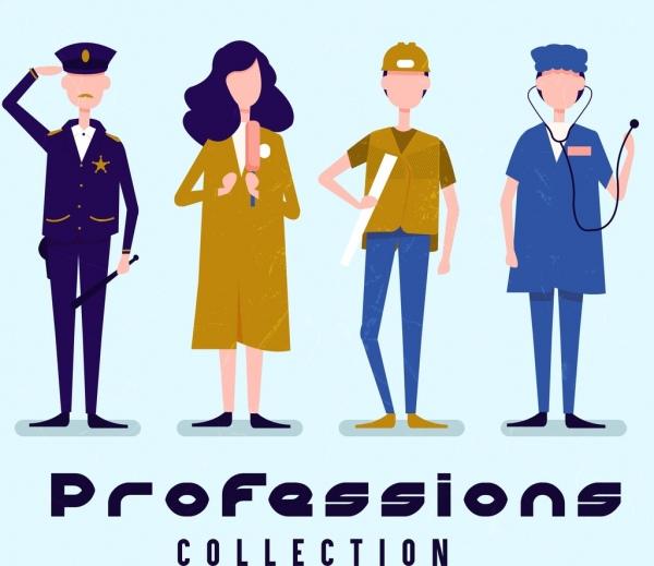 profession icons man woman cartoon characters