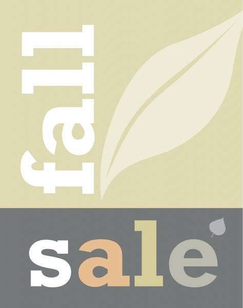 fall sale banner leaf icon sketch texts decor