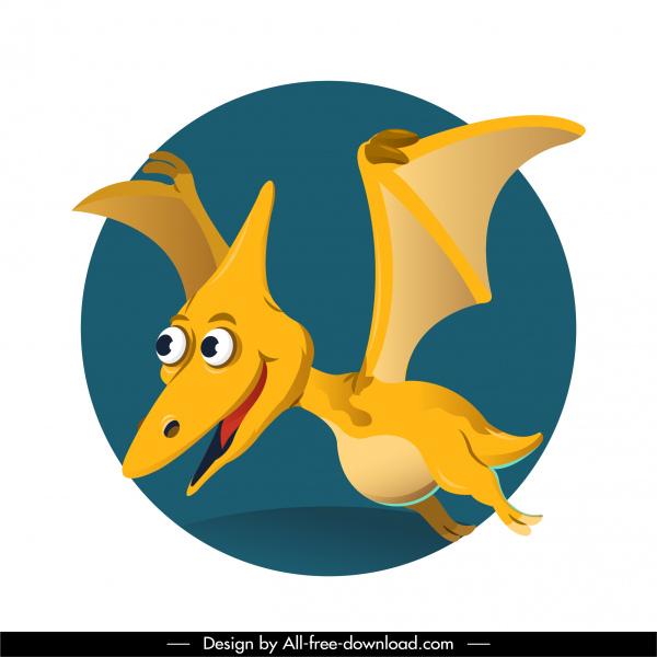 pteranodon dinosaur icon funny cartoon character design