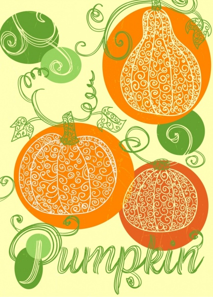 pumpkin background handdrawn sketch curves calligraphy decor