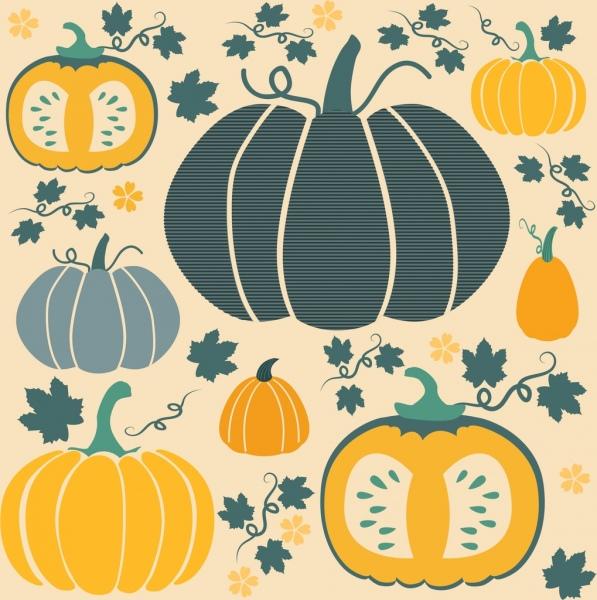pumpkin background multicolored flat decoration