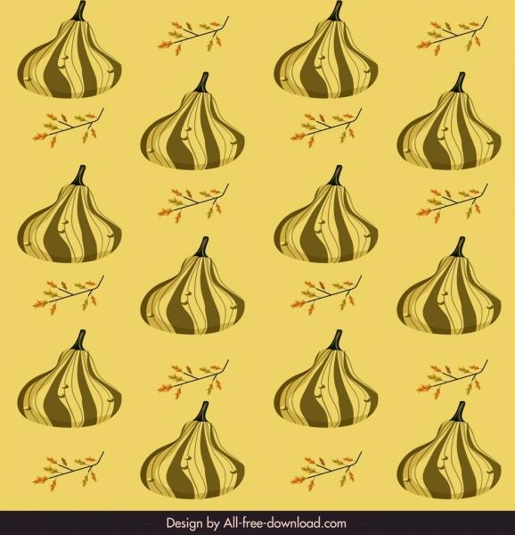pumpkin pattern colored repeating sketch classical design