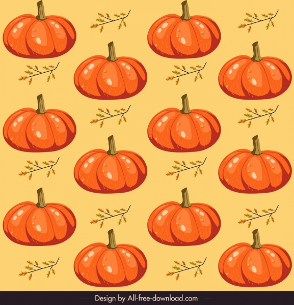 pumpkins pattern colored classical repeating sketch