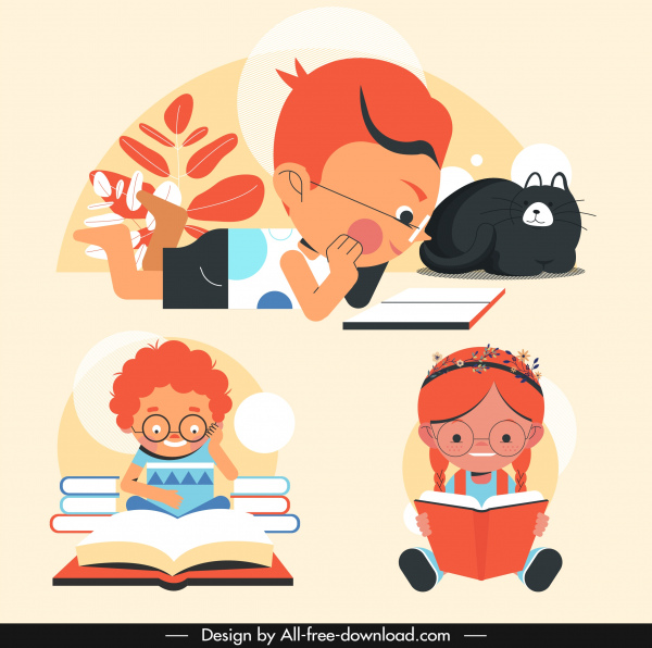 pupil icons kids reading books sketch cartoon characters