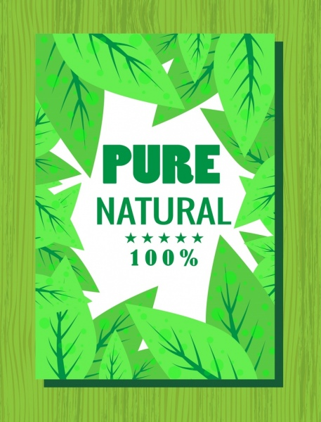 pure natural product banner green leaves decor