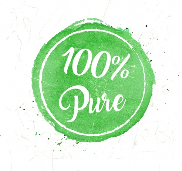 Pure Products Stamp Template Grunge Green Circle Design