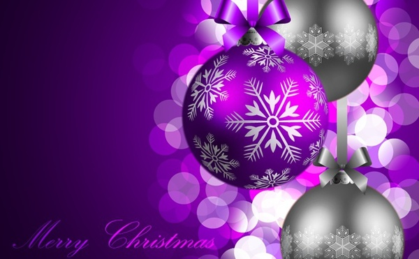 christmas banner bokeh baubles decor violet grey design