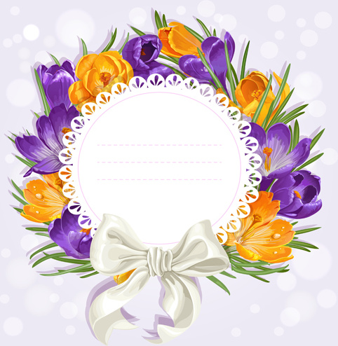 purple flower with bow vector cards