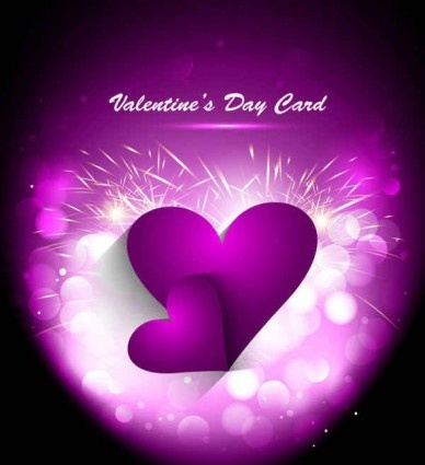 purple heart with valentines day greeting card vector