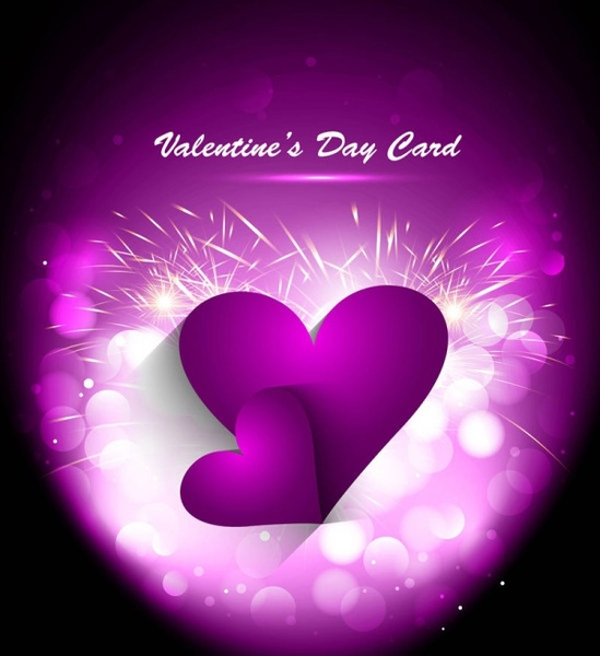 valentine card violet hearts decoration sparkling bokeh background