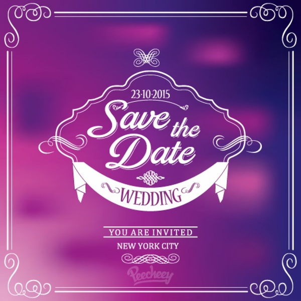 Purple Wedding Invitation Free Vector In Adobe Illustrator Ai