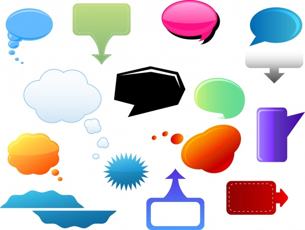 speech bubble icons colorful flat shapes