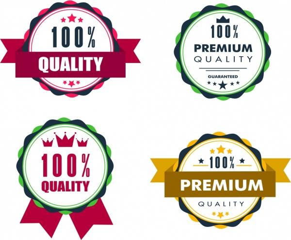 quality guarantee label sets classical colored circle design