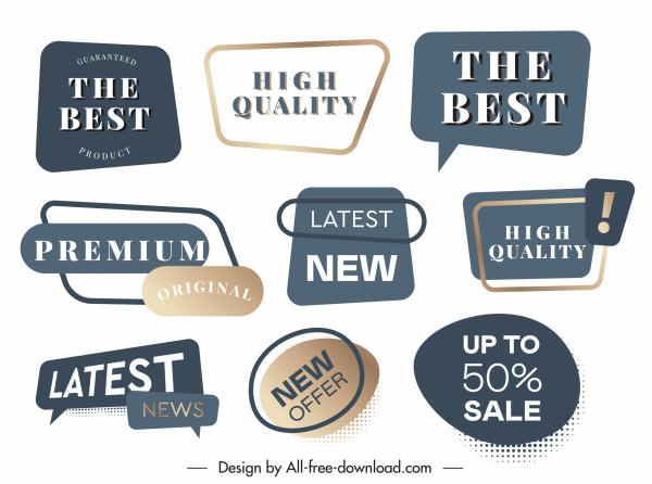 quality label templates elegant shapes sketch