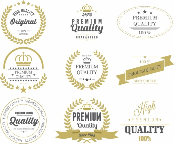 quality labels templates vintage design star texts decoration