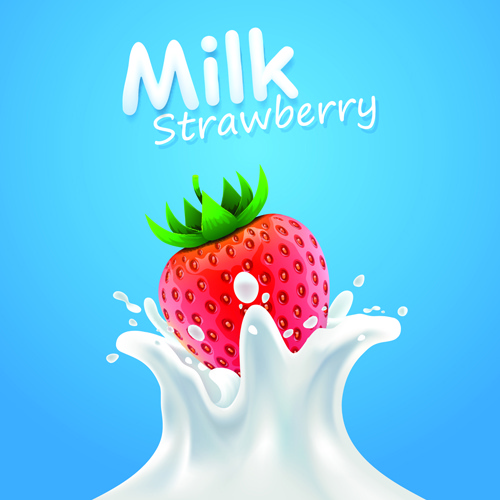 quality milk advertising poster splashes style vector free vector in