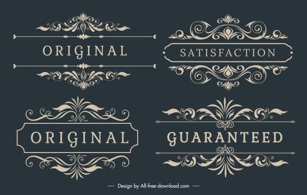 quality tag decor elements elegant retro european symmetry