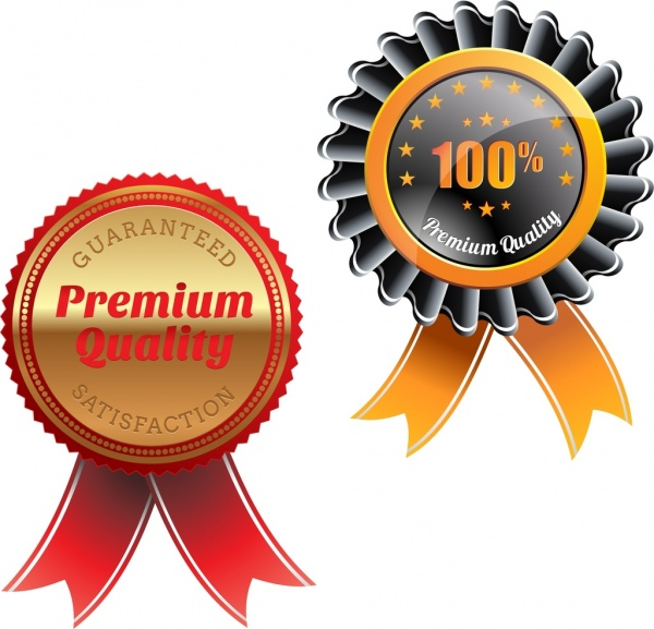 quality tag templates medal type shiny colored circle