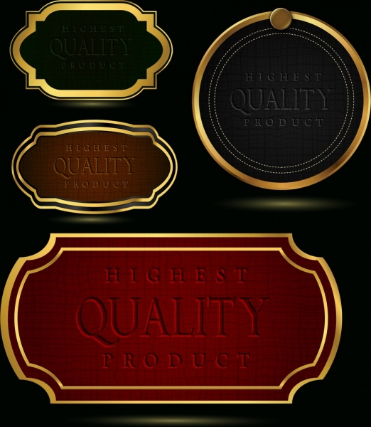 quality tags templates yellow border leather pattern decor