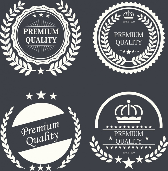 quality warranty labels sets classical black white circles