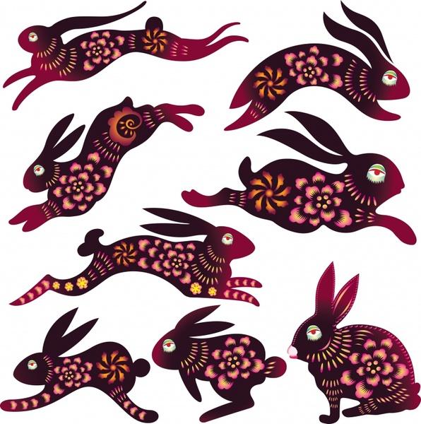 decorative rabbit icons dark flat design flowers decor