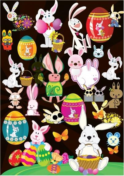 easter design elements colorful rabbit eggs sketch