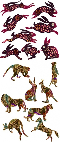 rabbits and other animals vector