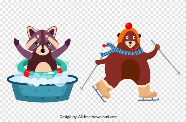 raccoon bear animal icons cute stylized cartoon sketch