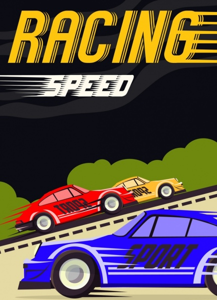 racing banner sports cars icons texts decoration