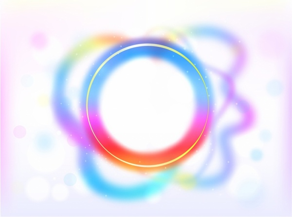 Rainbow Circle Border with Sparkles and Swirls