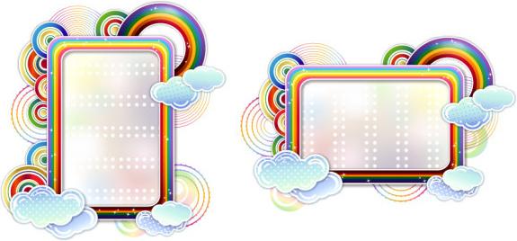 rainbow clouds border vector free vector in adobe illustrator ai