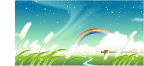 nature background flowers filed rainbow stars icons decor