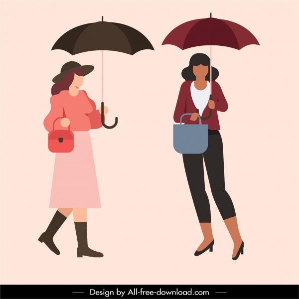 rainy fashion icons umbrella elegant women sketch