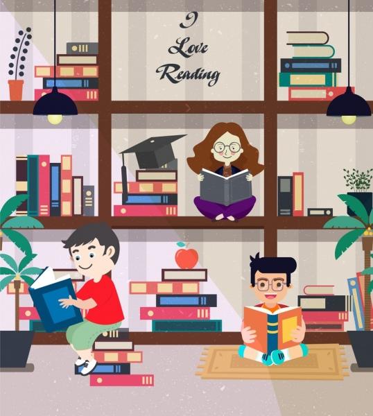 reading banner children bookshelf icons colored cartoon design