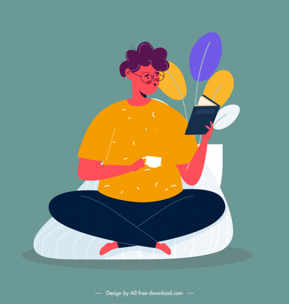 reading person icon colored cartoon character design