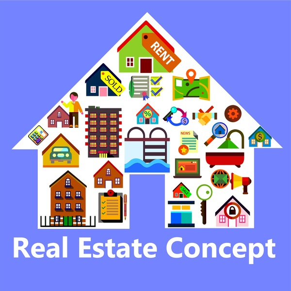 real estate concept design with various houses shapes
