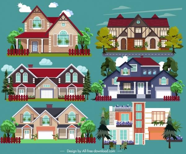 real estate design elements modern building icons sketch