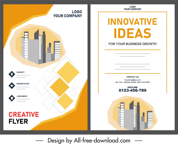 real estate flyer template buildings sketch bright modern