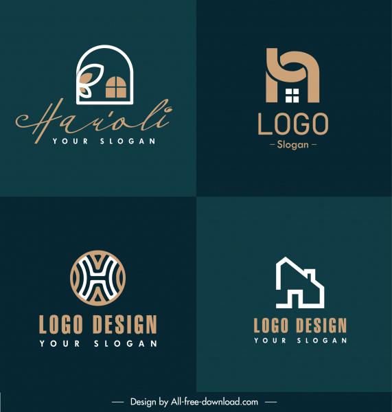 real estate logo templates flat house shapes sketch