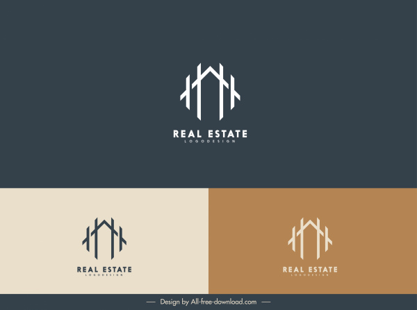 real estate logotype house sketch flat lines decor