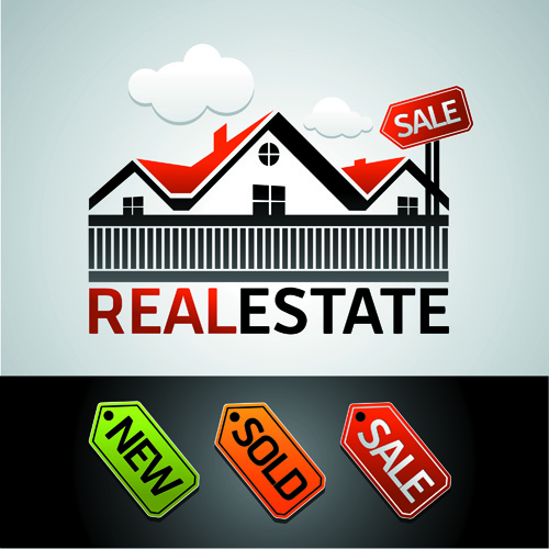 real estate sale with tags vector