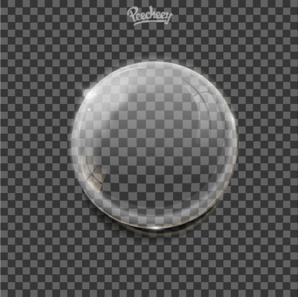 realistic bubble with reflections and shadows on transparent background