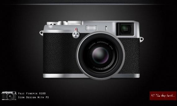 realistic fuji x100 camera icon icon